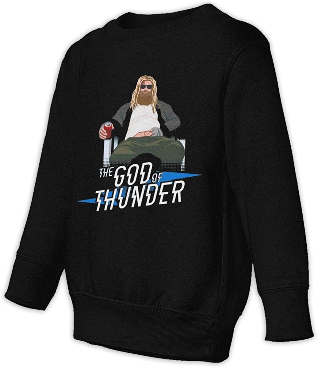 HUABDWA Fat Thor The God of Thunder Abides Unisex Sweatshirt Youth Boy and Girls Pullover Sweatshirt Black