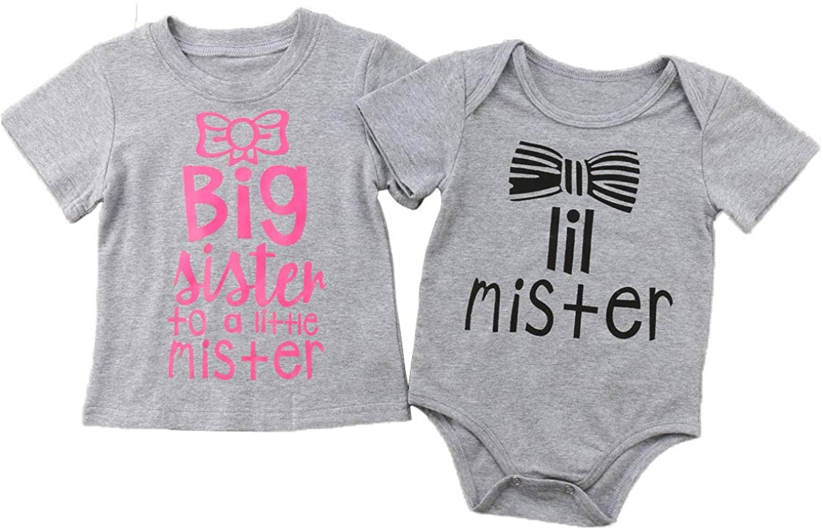 Infant Baby Matching Outfits Sibling Shirt Set for Sisters and Younger Brother