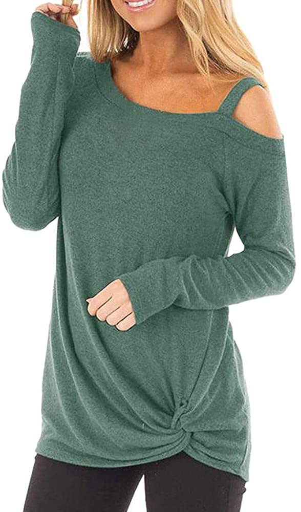 Women's Casual Long Sleeves Cold Shoulder Knot Side Twist Knit Soft Blouse Tops Tunics Pullovers
