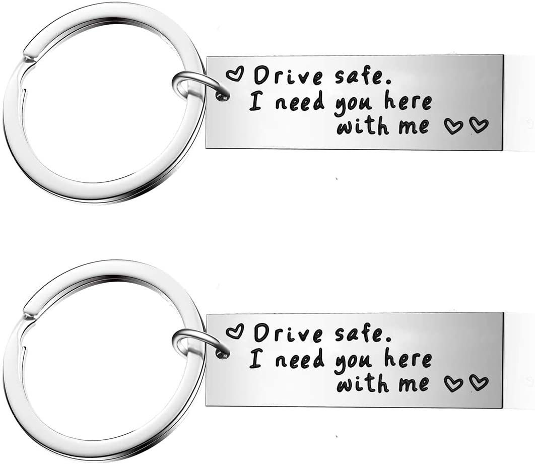 Pack of 2 Drive Safe I Need You Here with Me Husband Keychain Best Friend Gift Boyfriend Keyring (Style-Drive Safe)