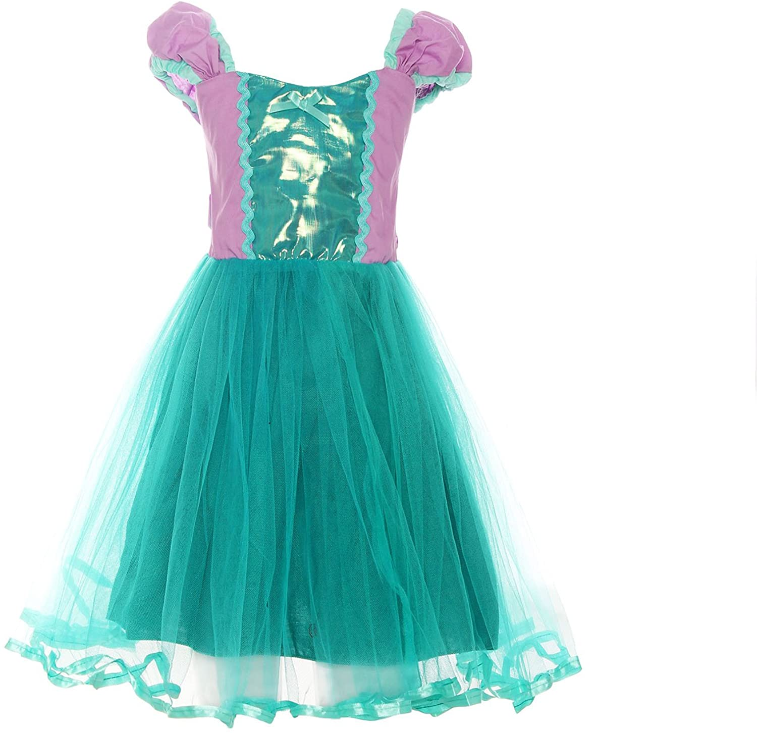 ReliBeauty Little Girls Mermaid Cosplay Dress Short Sleeve Costume, 3T
