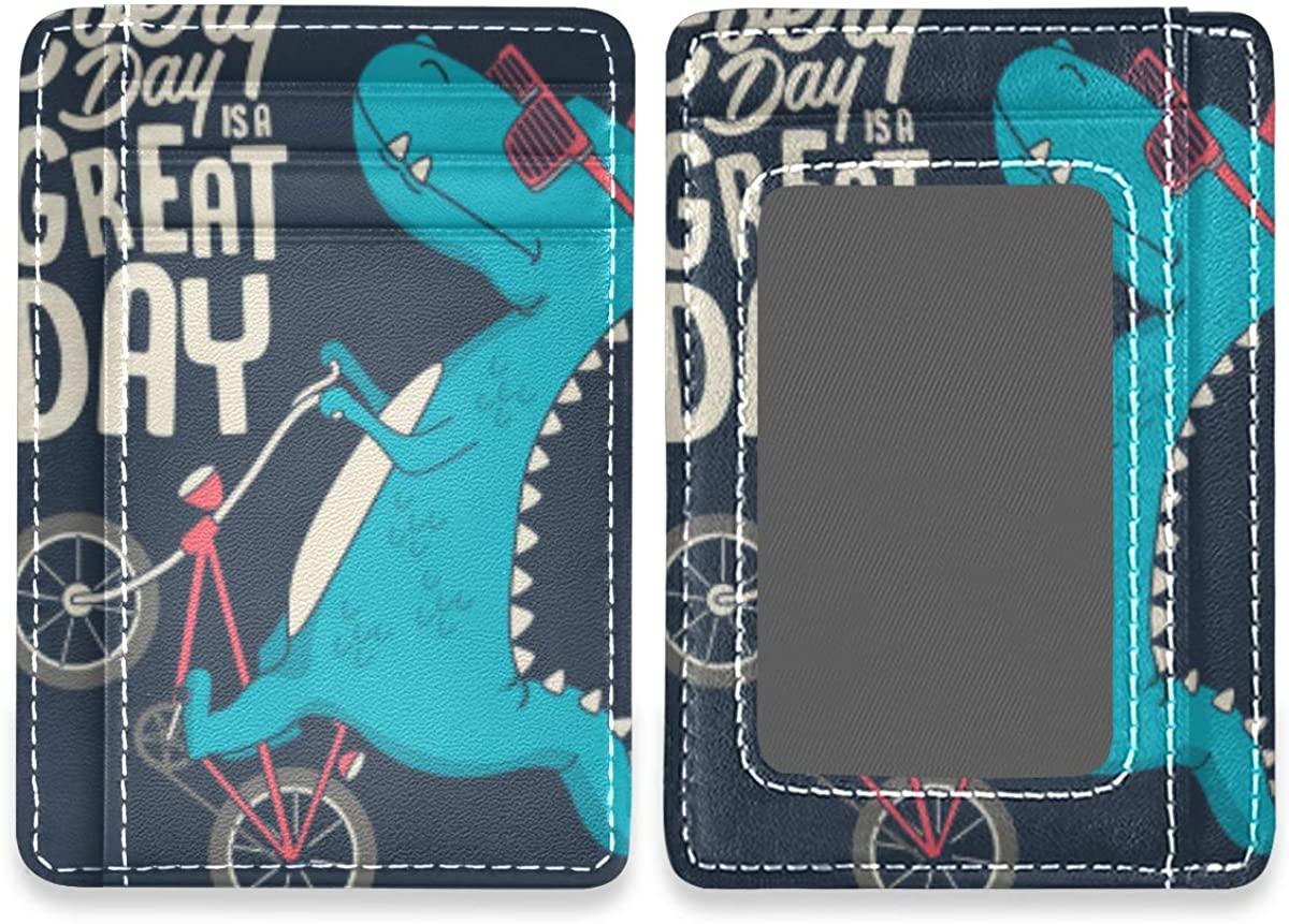 Cute Dinosaur Riding Bike Rfid Credit Card Holders Wallet Womens Mens Gift Card Case Organizer
