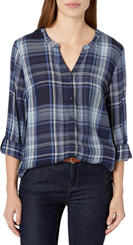 Erika Women's Alisa 3/4 Sleeve Split Neck Button Front Plaid Shirt