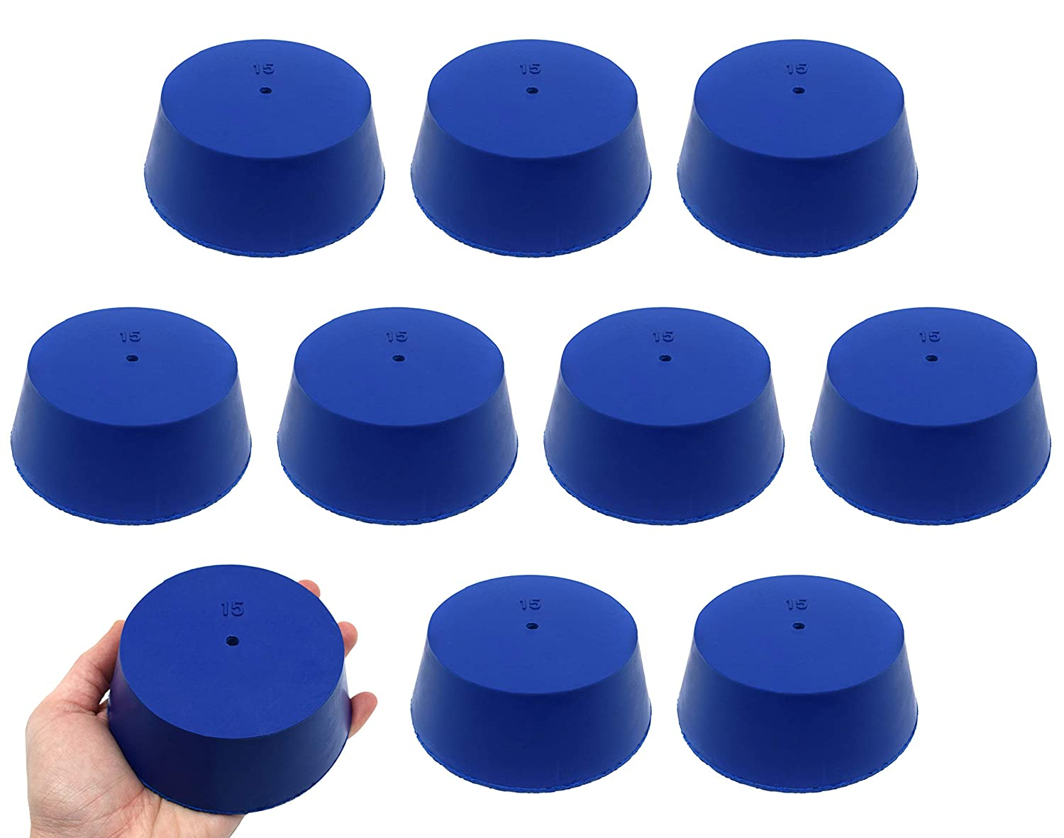 Neoprene Stopper, ASTM - Pack of 10-1 Hole - Blue, Size #15: 83mm Bottom, 103mm Top, 39mm Length - Eisco Labs