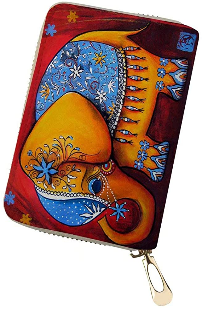 Portable Credit Card Holders for Women, Front Pocket Wallet Leather with Multi Card Slots Cute Printed