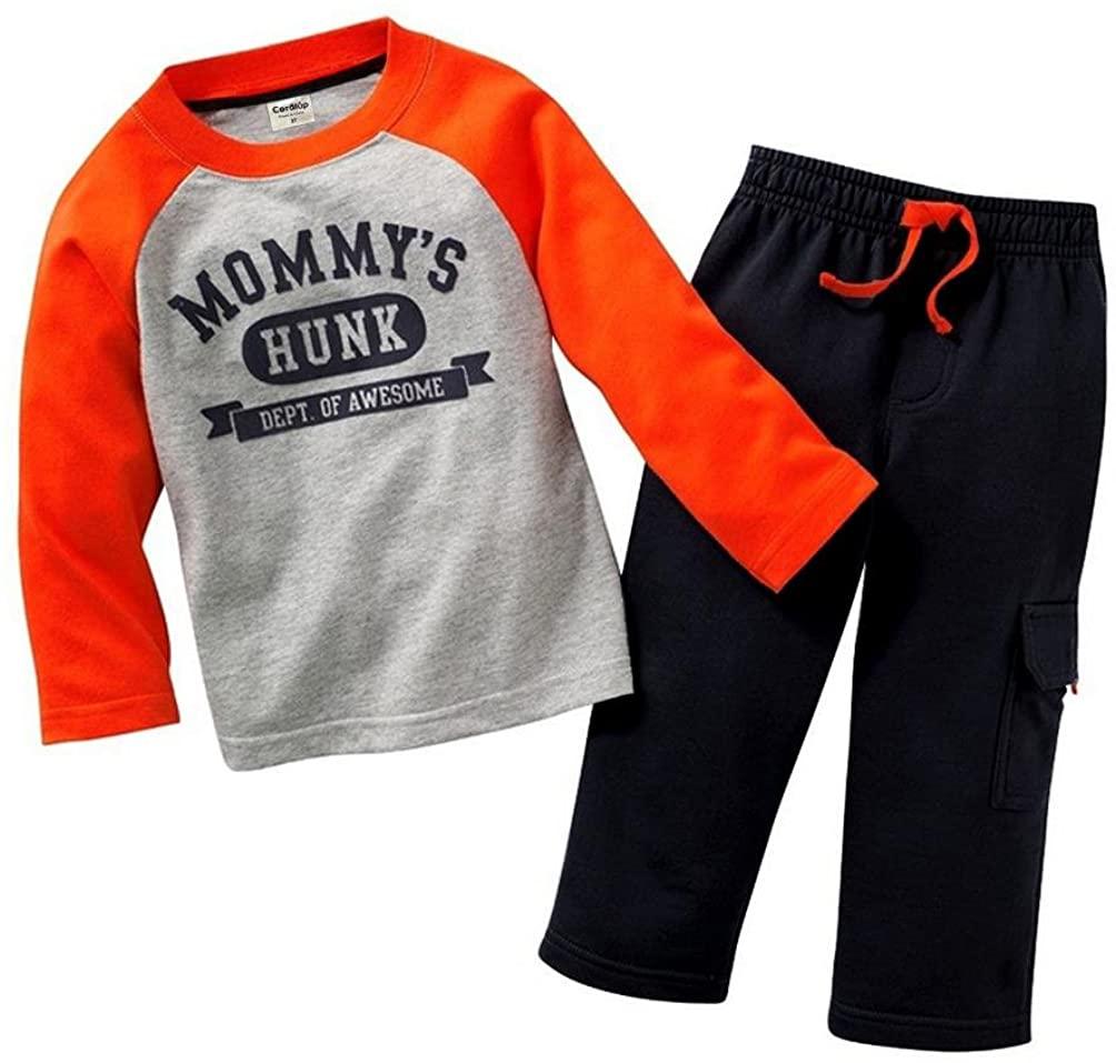 Mommy's MVP Boys Long Sleeve Clothing Set Baby T-Shirt+Pants Outfits, 18-24M Orange