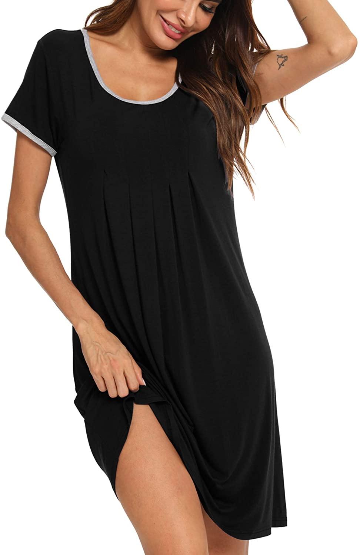 SWOMOG Women's Sleepwear Short Sleeve Nightdress Soft Sleep Dress Pleated Scoopneck Nightshirt