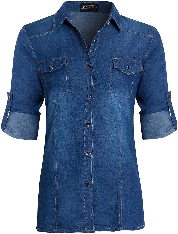 shelikes Womens Denim Shirt Top Ladies Slim Fit Vintage Stonewash Blue Size 8 10 12 14 16
