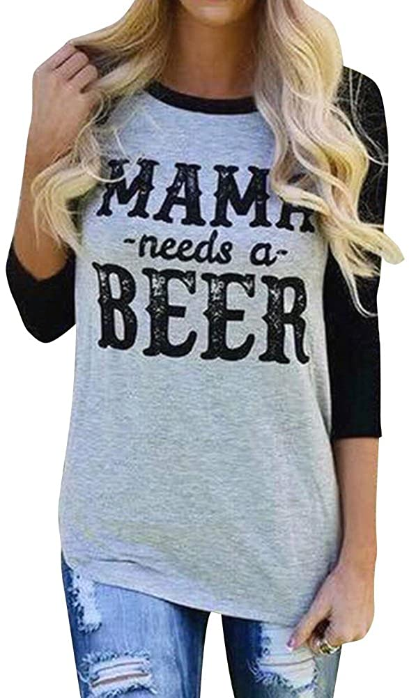 SCX Women Mama Needs A Beer Casual 3/4 Sleeve Mom Shirt Top Tee T-Shirt for Mom Gifts