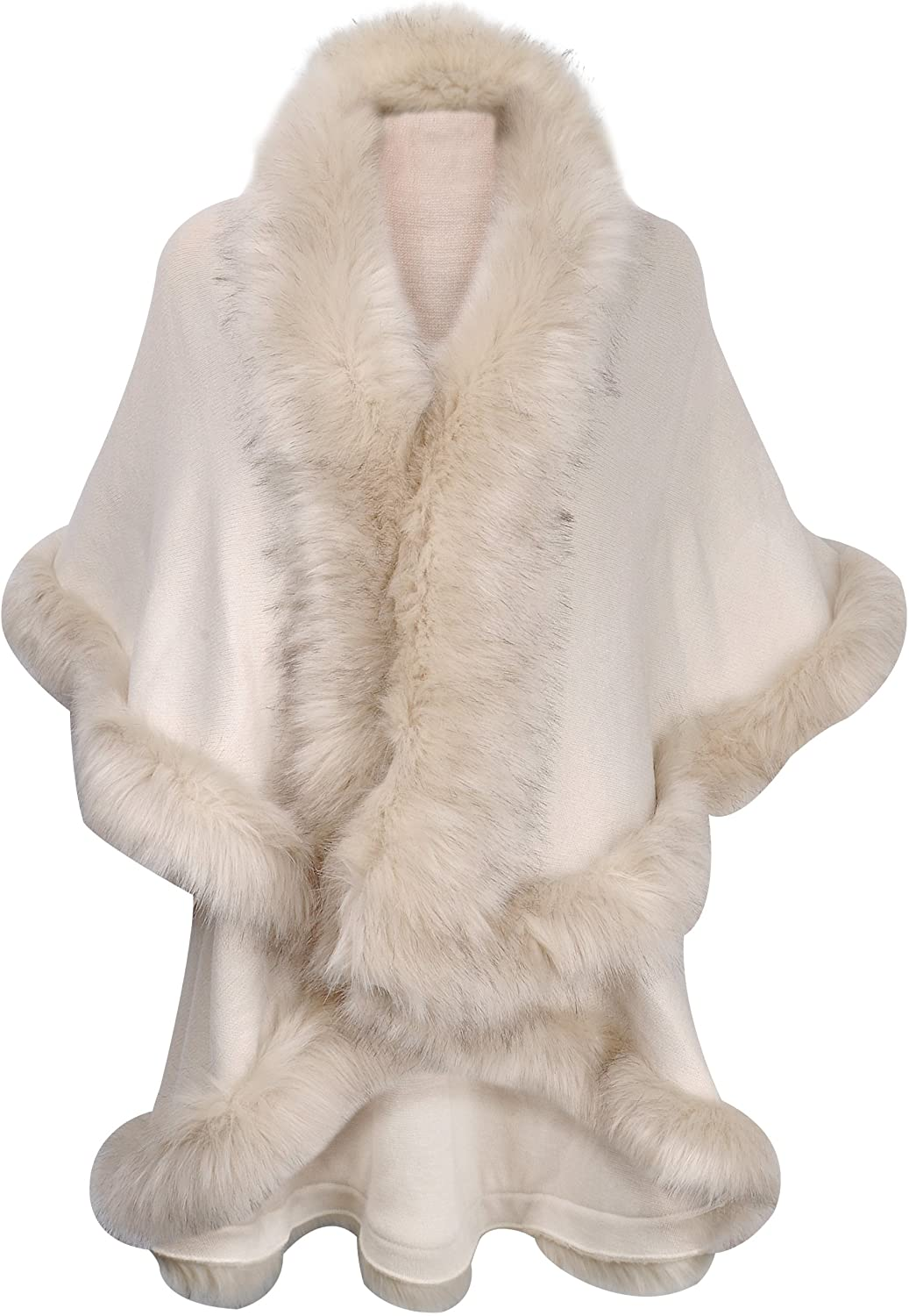 ZLYC Women Fine Knit Open Front Faux Fur Trim Layers Poncho Cape Cardigan Sweater