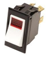 CARLING TECHNOLOGIES LTILA51-6S-WH-RC-NBL/12V Illuminated Rocker Switch,SPST,ON-None-ON,15A