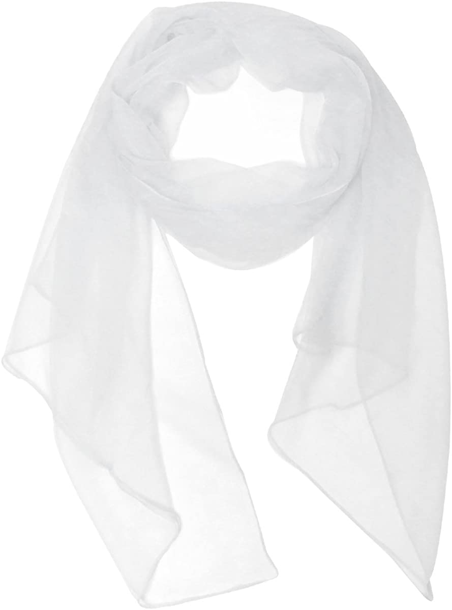Wrapables Solid Color Silk Long Scarf, White