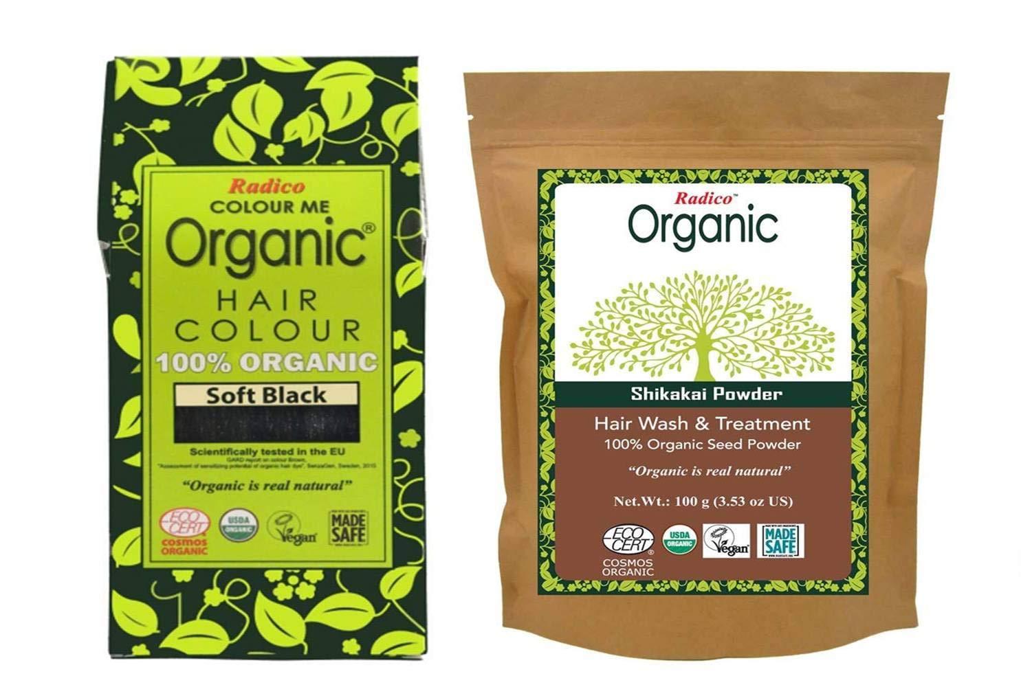 100% Organic Radico Soft Black Hair color+100% Organic Shikakai Powder