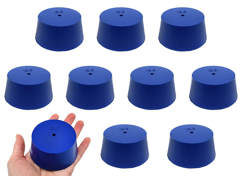Neoprene Stopper, ASTM - Pack of 10-1 Hole - Blue, Size #13.5: 62mm Bottom, 75mm Top, 35mm Length - Eisco Labs