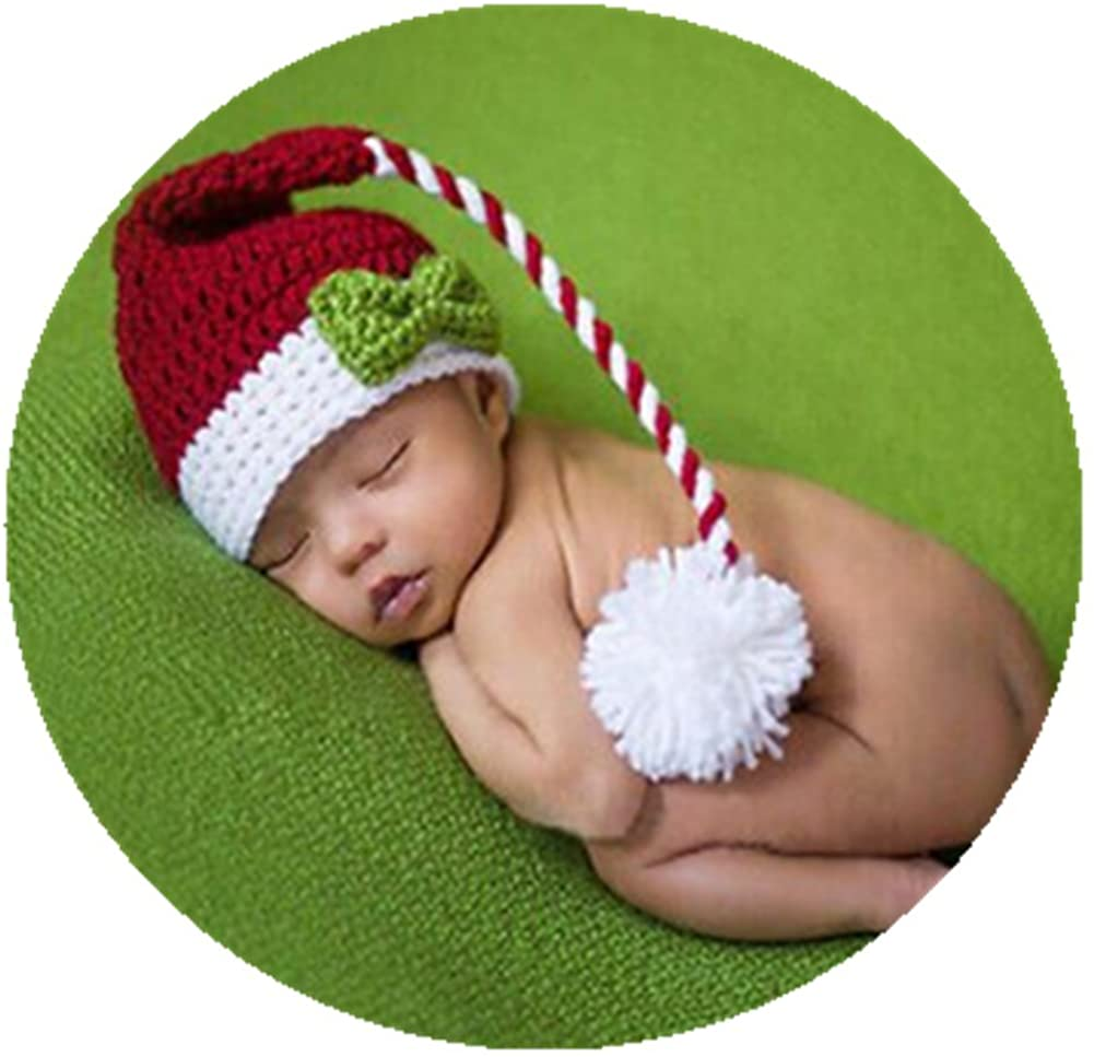 Newborn Baby Photo Props Outfits Crochet Christmas Long Tail Hat for Boys Girls Photography Shoot Red