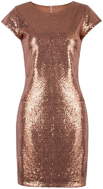 VIJIV Women's Sparkle Glitzy Glam Sequin Short Sleeve Flapper Party Club Dress