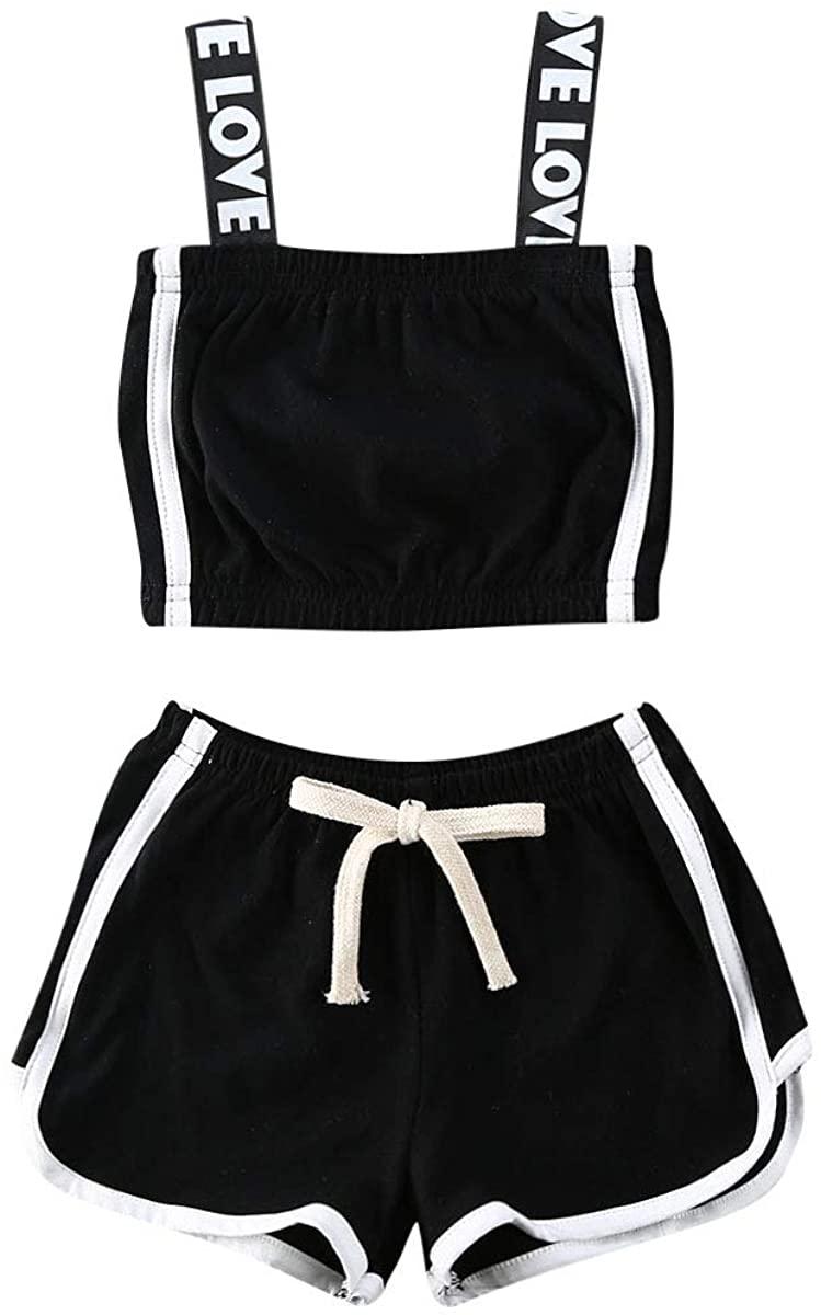 Toddler Baby Girl Sports Clothes Set Cotton Strap Crop Top Halter+Striped Shorts Pants 2Pcs Tracksuit Sweatsuit