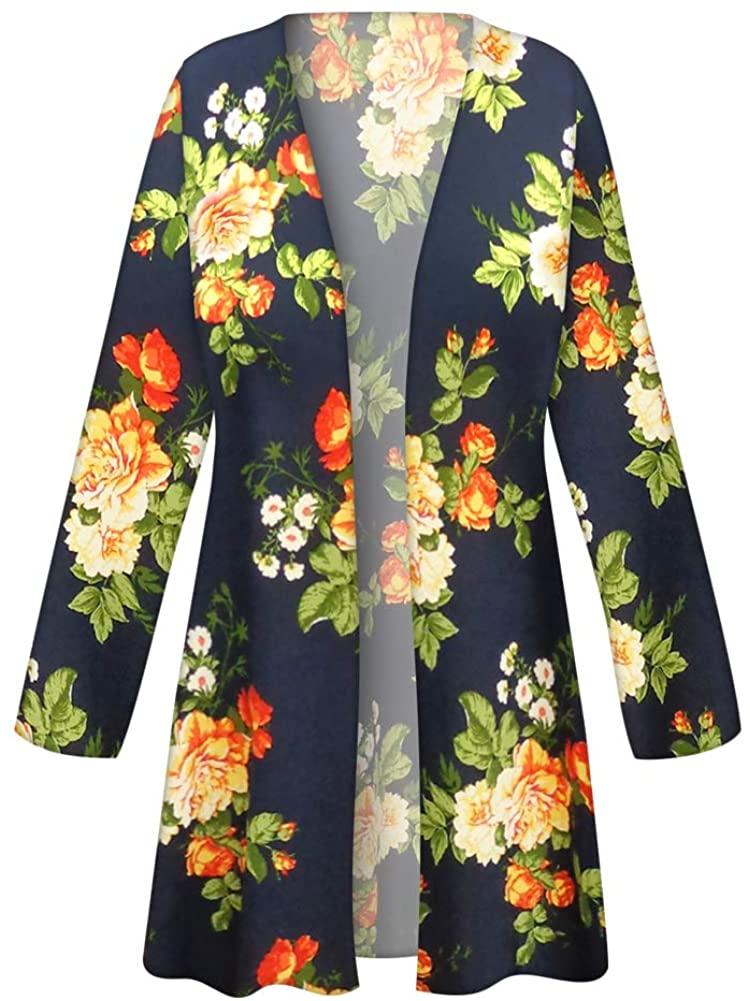 Plus Size Jacket Standard Slinky Orange Roses Print