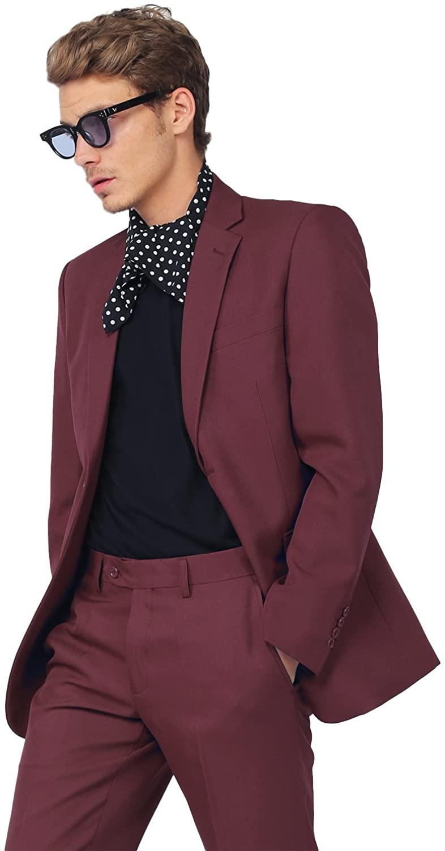 SBW Men's Classic Slim Fit 2 PCS Suit Blazer and Slacks