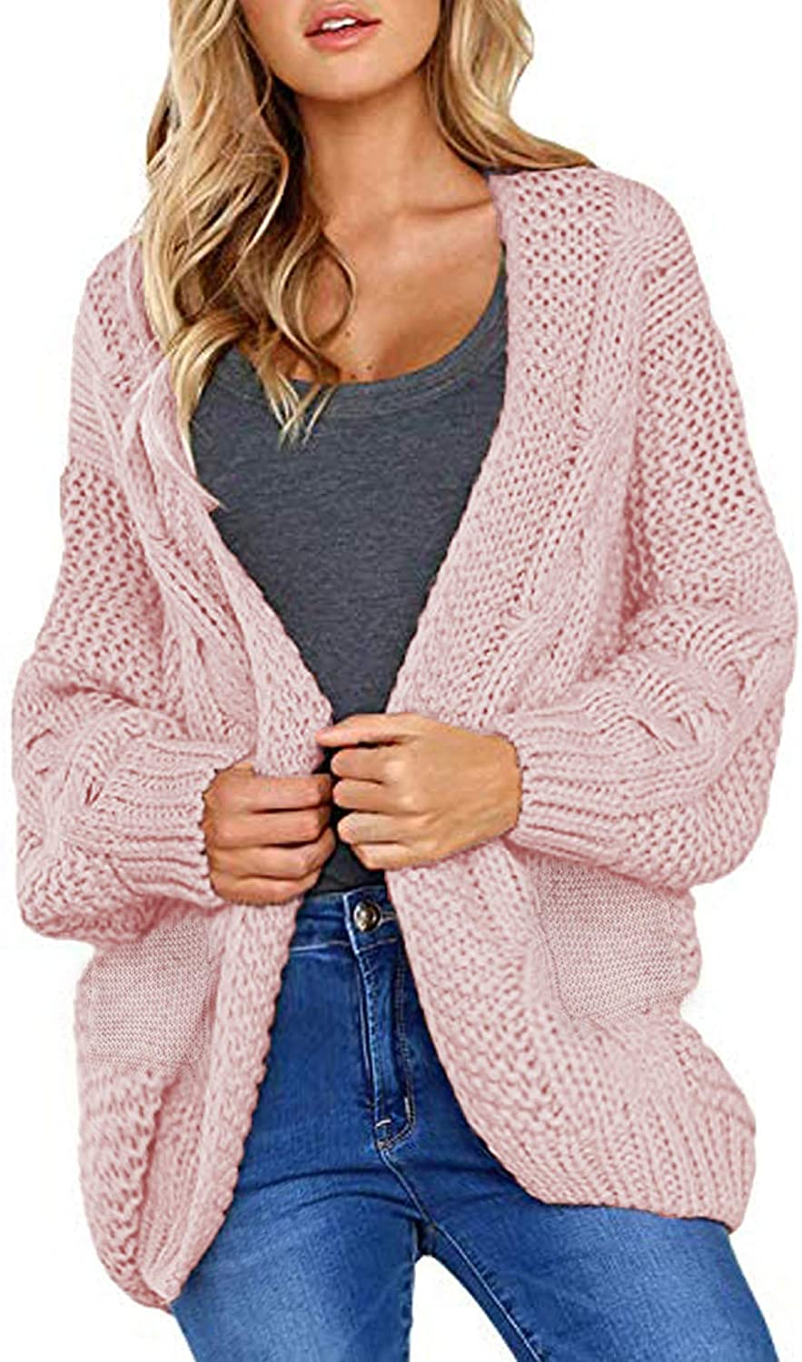 LOMON Women Open Front Long Sleeve Chunky Knit Cardigan Sweater with Pocket Loose Outwear Warm Coat S-XXL