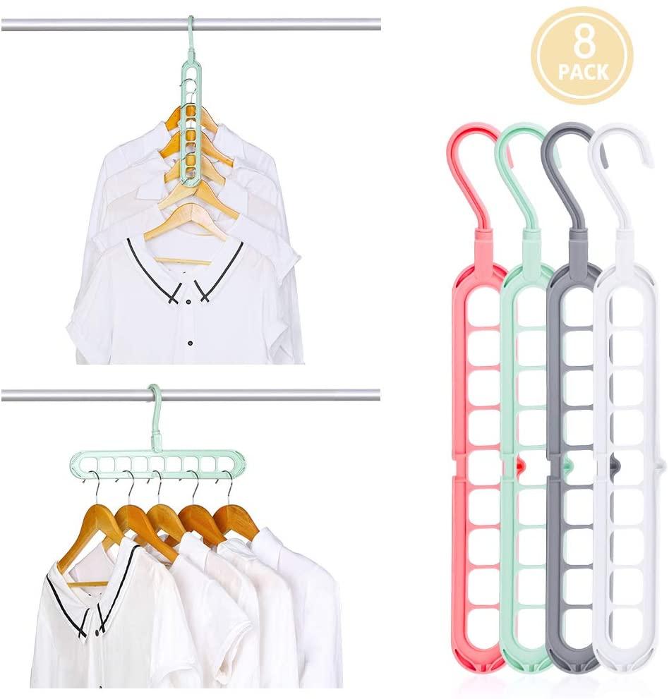 HAITRAL 8 Packs Space Saving Clothes Hangers, Multi-Purpose Plastic Magic Hangers with 9 Hole, Closet Clothes Hanger Organizer for Heavy Clothes, Shirts Pants Dresses Coats, Four Colors