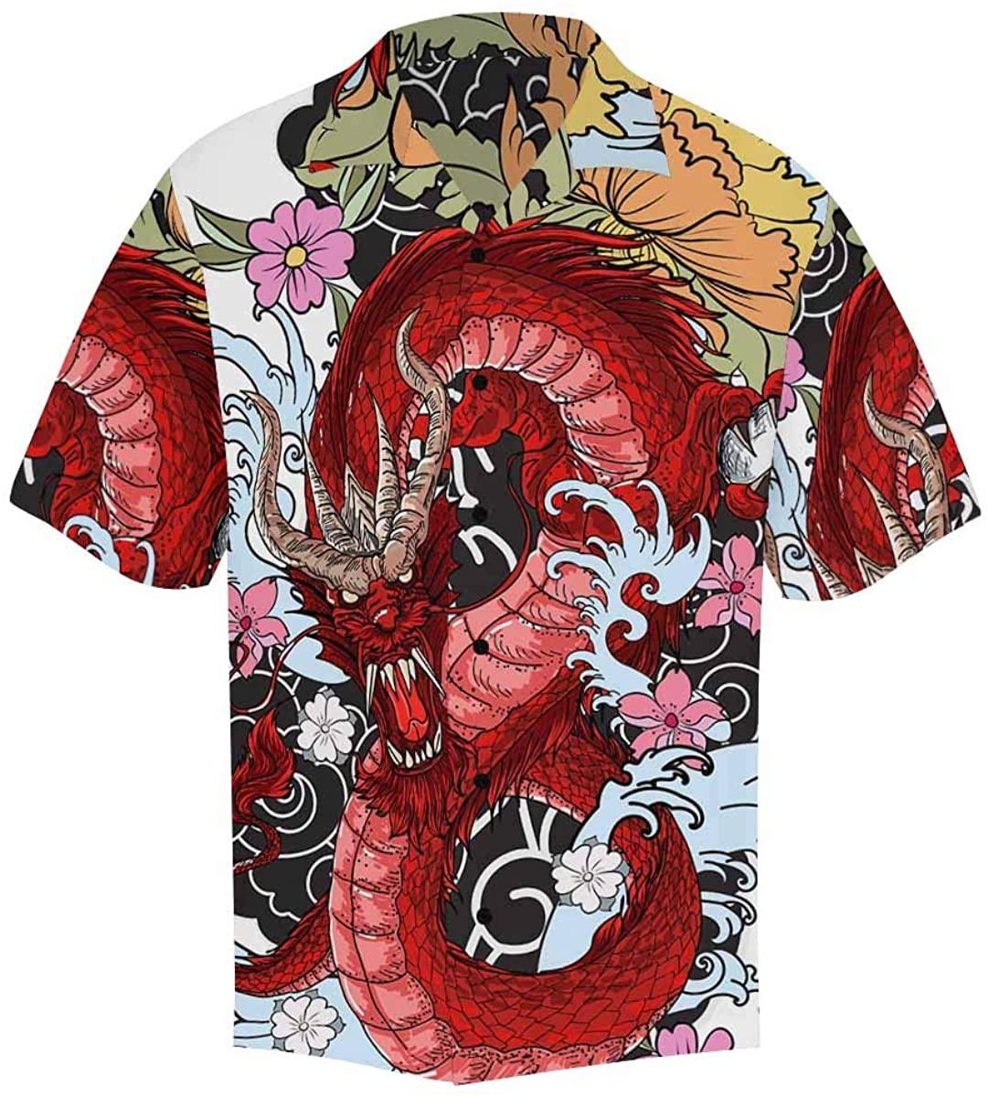 INTERESTPRINT Men's Casual Button Down Short Sleeve Skull and Dragon Hawaiian Shirt (S-5XL)