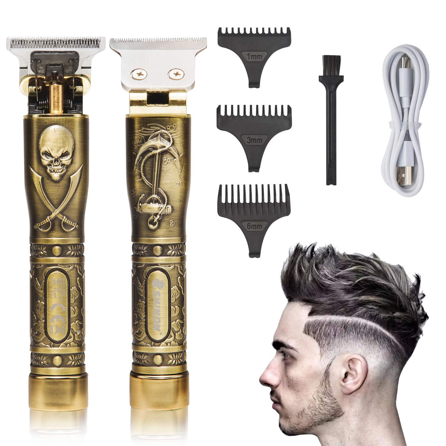ToHLo Mens Hair Clipper Cordless Hair Trimmer Mens Professional Hair Mustache Trimmer T-Blade Hair Trimmer Grooming Kit Golden skeleton Hair Trimmer with 3 Guide Combs Rechargeable Quiet