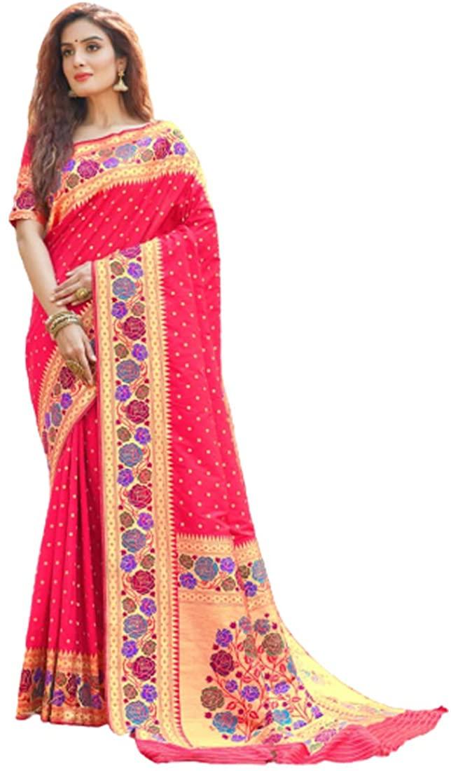Pink Party Eid Uljha Wear Pure Paithani Silk Indian Saree Sari Blouse Muslim Dress 9869B