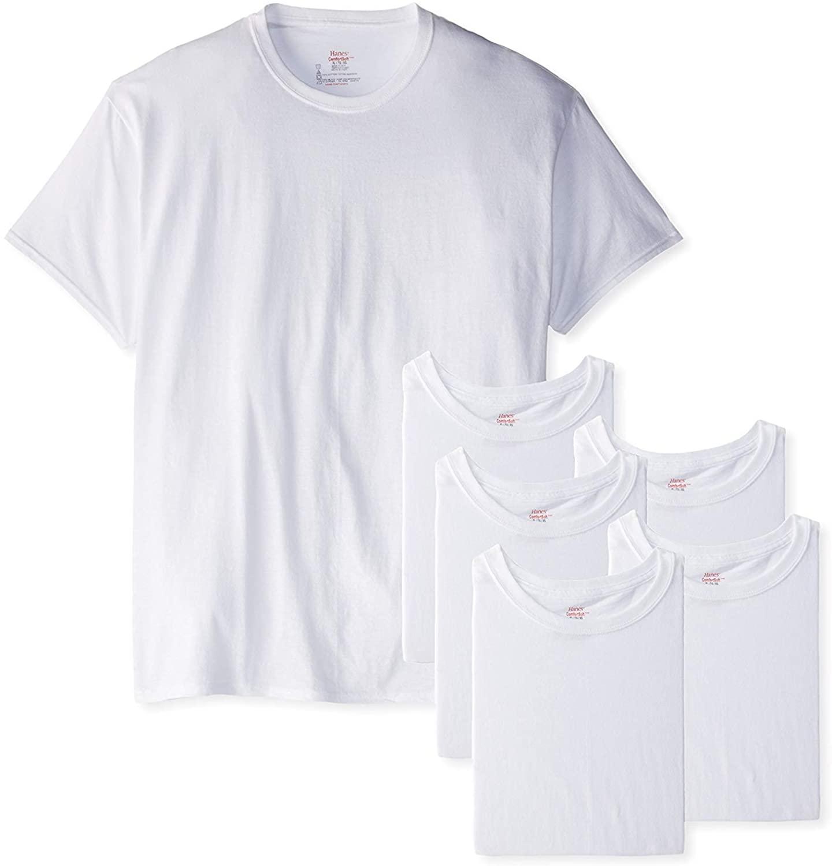Hanes Men's 6-Pack FreshIQ Crew T-Shirt (Large (42-44), White)