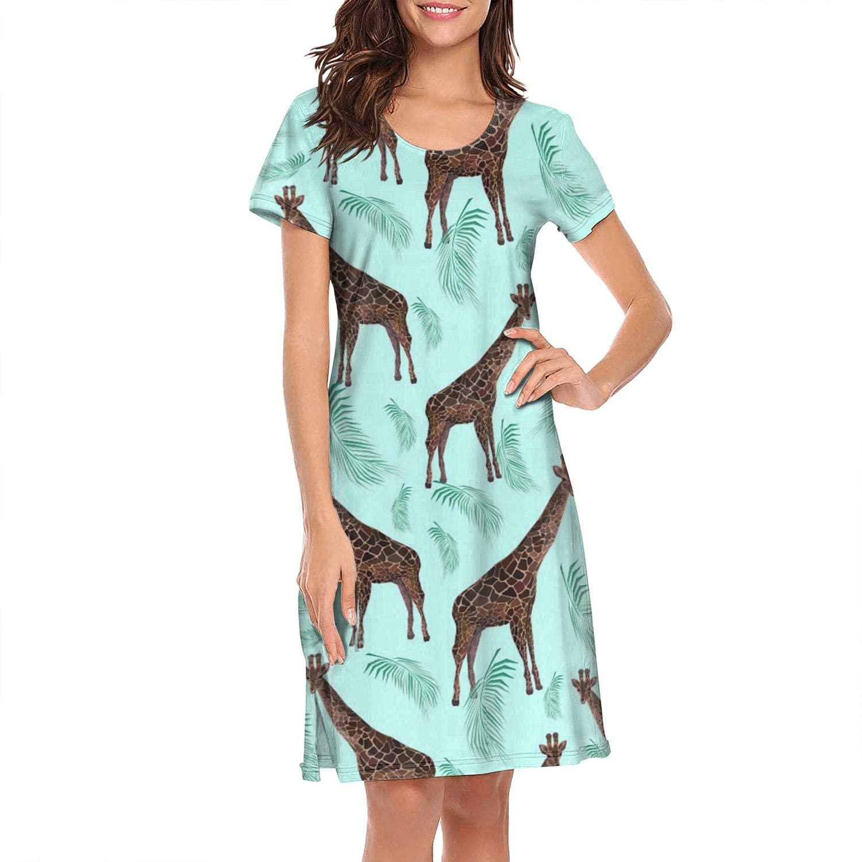 Womens Sleepwear African Animals African Giraffe Short Sleeves Night Dress Soft Nightshirt Elegant Sleeping Clothes Nightwear