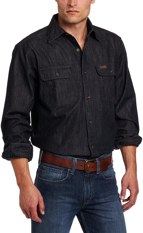 Carhartt Men's Big & Tall Washed Denim Long-Sleeve Button-Front Original Fit Work Shirt