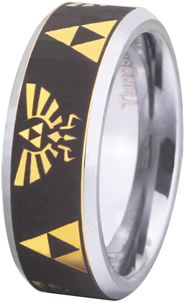 Cloud Dancer Free Custom Engraving The Legend of Zelda Ring- Crest and Triforce Ring Gold with Silver Bevel Tungsten Carbide Wedding Ring Engagement Ring