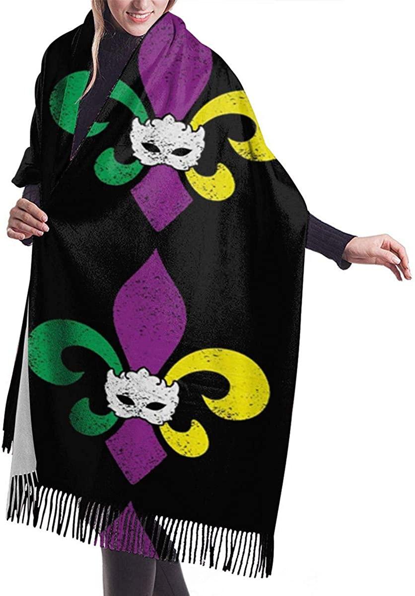 Mardi Gras Fleur De Lis Winter Scarf Cashmere Scarves Stylish Shawl Wraps Blanket