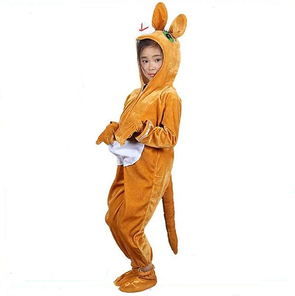 Childrens Animal Costumes Hooded Fancy Dress Party Outfit Pajamas Cosplay (Kangaroo, M (Fits Height 41-47))