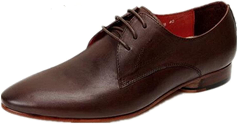 HAPPYSHOP(TM Mens Business Suit Derby Shoes Pointed Toes Leather Shoes Formal Wear Business Shoe (EU 38 M, Coffee)