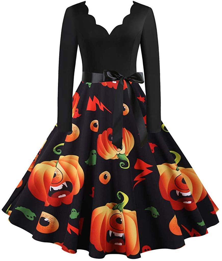 LINKIOM Women Halloween Long Sleeve Retro Lace Vintage Dress A Line Pumpkin Swing Dress Cosplay Suit