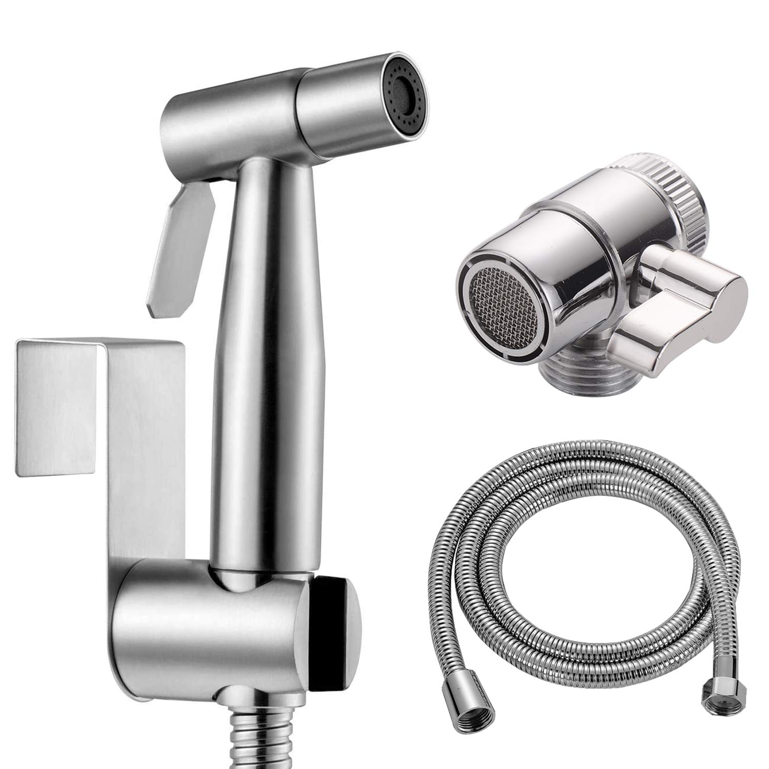 Handheld Bidet Sprayer Toilet Kit, Stainless Steel Muslim Shower and Baby Cloth Diaper Sprayer Kit - with Faucet Splitter,Hose and hook up Toilet or Wall Mount