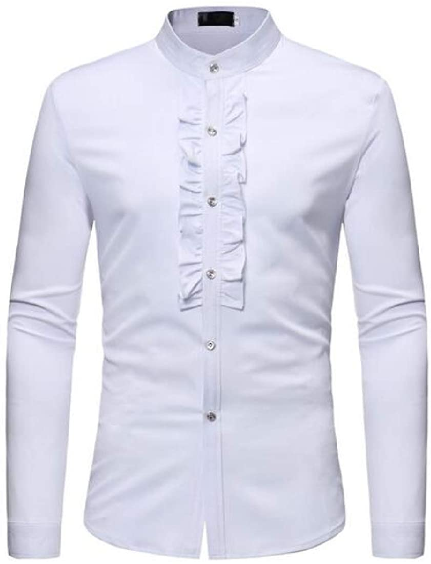 SHOWNO Men's Formal Solid Stand Collar Ruffle Dinner Wedding Party Long Sleeve Dress Shirt