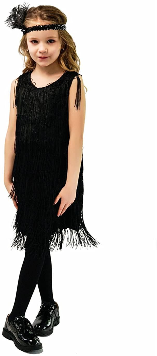 DSplay Kids Girl's Fashion Flapper Satin Dress Costume(S/M/L)