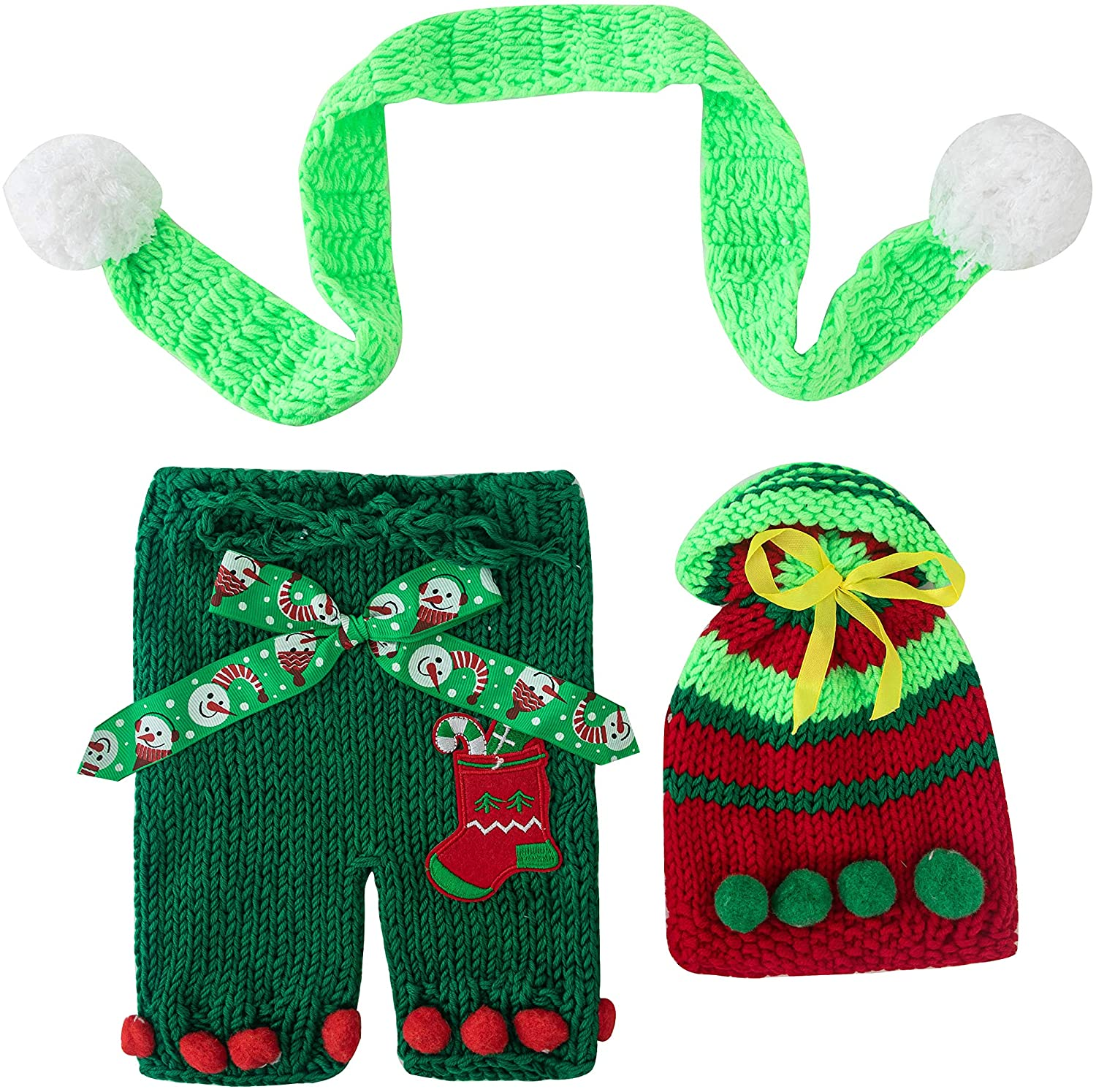 Newborn Photography Props Boys Girls Christmas Outfits Set, Baby Photo Props Handmade Hat with Pants Set
