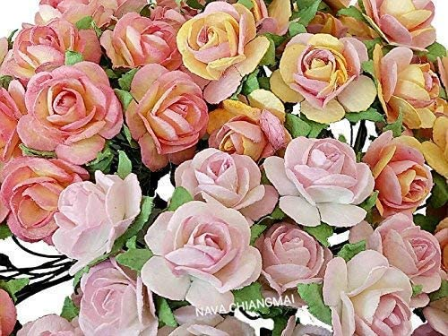 NAVA CHIANGMAI 60 pcs Rose 20mm Mixed Pink Mulberry Paper Flowers handmade craft project cardmaking Floral Valentine