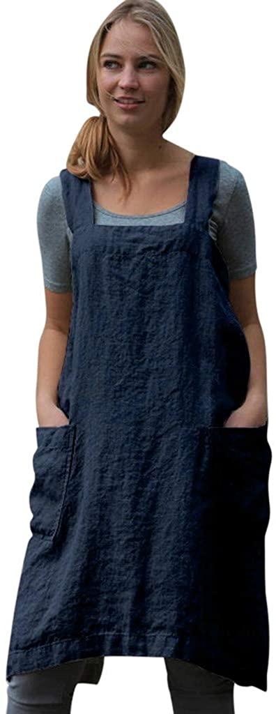 Adeliber Women Cotton Linen Square Cross Apron Garden Work Pinafore Dress