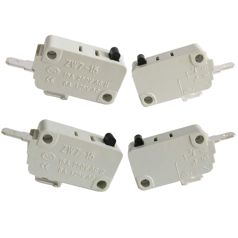 Twidec/4Pcs Micro Switch for DR52 16A 125/250V Universal Microwave Oven Door NC + NO (Normally Close + Normally Open) ZW7-15-W/NC+NO