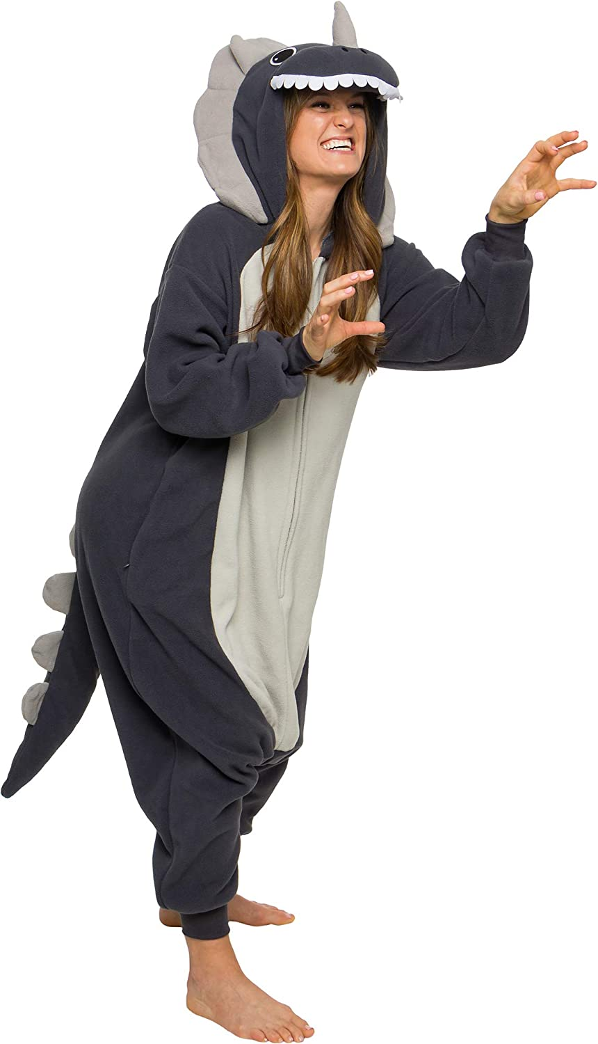 Silver Lilly Triceratops Costume Pajamas - Unisex Adult One Piece Halloween Dinosaur Jumpsuit