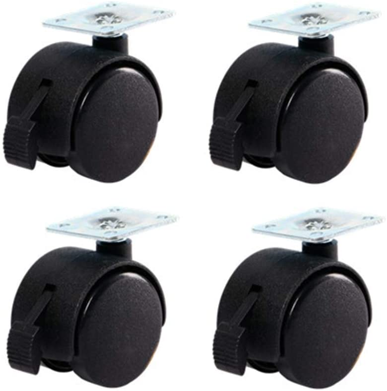 Casters,Cabinet Table Flower Stand Nylon Furniture Casters,with Brakes,4 Pieces Swivel Chair Office Chair Computer Chair Replace Flat Castor Wheels 360 Degree Rotation/B / 2in