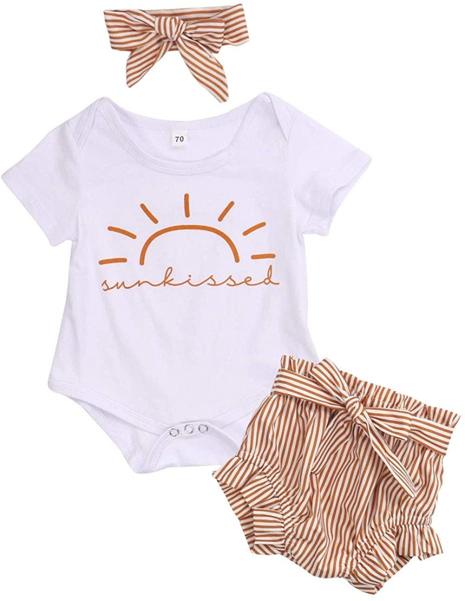 Toddler Baby Girl Summer Clothes Set Short Sleeve Romper Jumpsuit Ruffled Stripe Bloomer Shorts Headband Summer Outfits Set