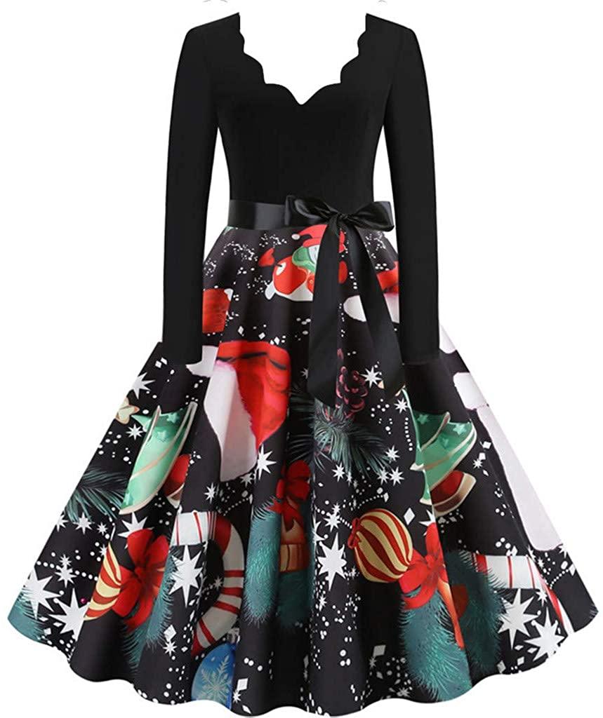 Ninasill Women Christmas Party Dress Vintage Long Sleeve Print Housewife Evening Prom Dress