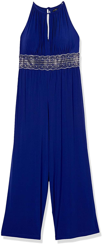 R&M Richards Women's Plus Size Missy One PCE Cut Away Shoulder Hot Fix Waist Jumpsuit