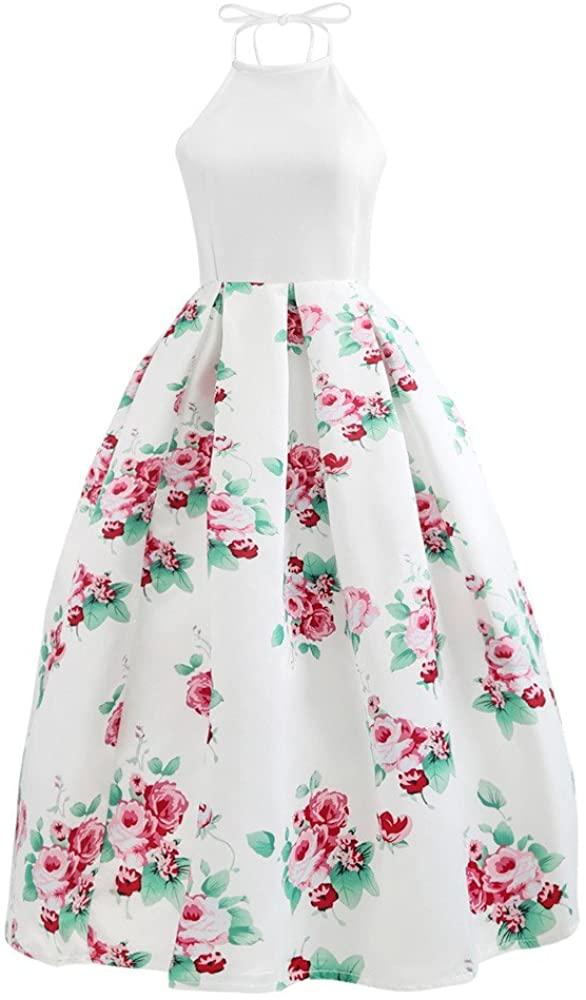 Adeliber Sexy Ladies Floral Print Dress Sleeveless Halter Backless Party Evening Beach Dress