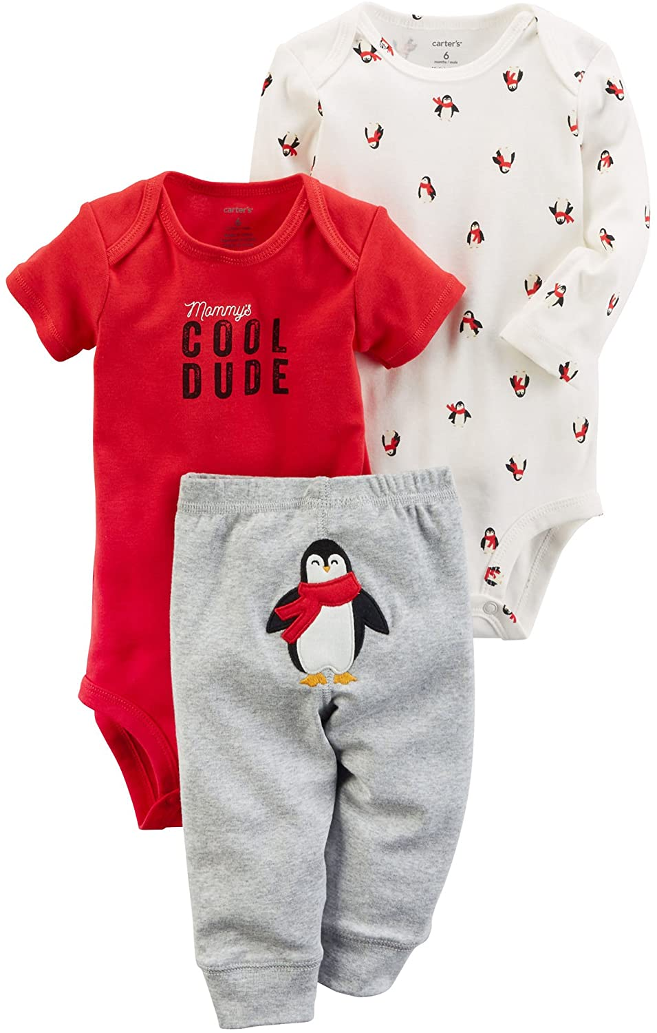 Carter's Baby Boys' 3 Piece Cool Penguin Little Character Set 3 Months Gray